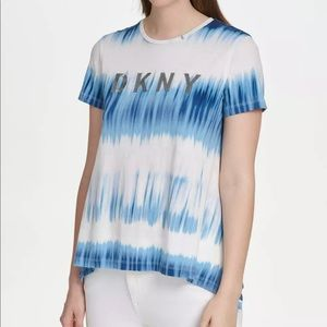 DKNY Lurex Embroidered Trapeze Tie Dye Tee NWT
